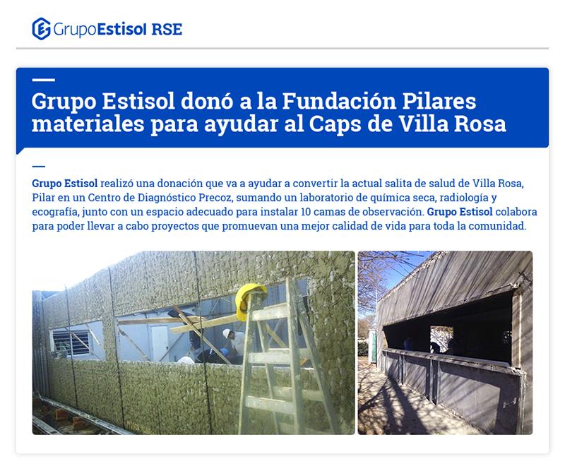 RSE: Grupo Estisol donó a la Fundación Pilares materiales para ayudar al CPAs de Villa Rosa.